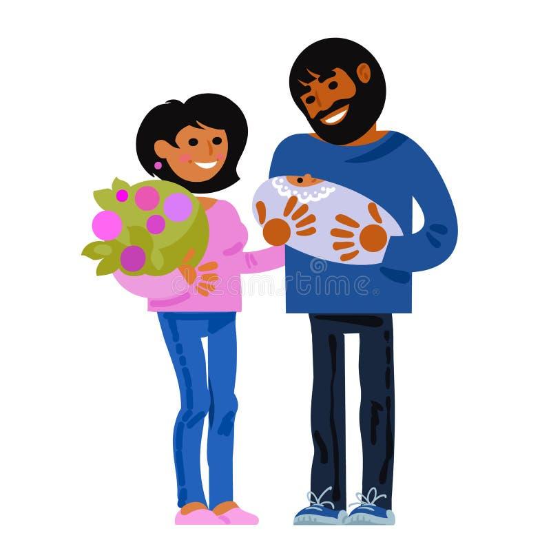 Familia Padres jovenes felices con el bebé recién nacido Concepto del nacimiento del niño Vector de la historieta ilustración del vector