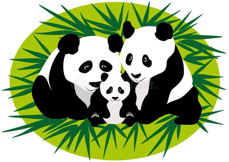 Familia Panda Bears ilustración del vector