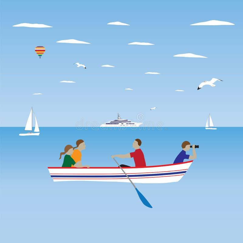 Familia por el barco Vacaciones de familia stock de ilustración