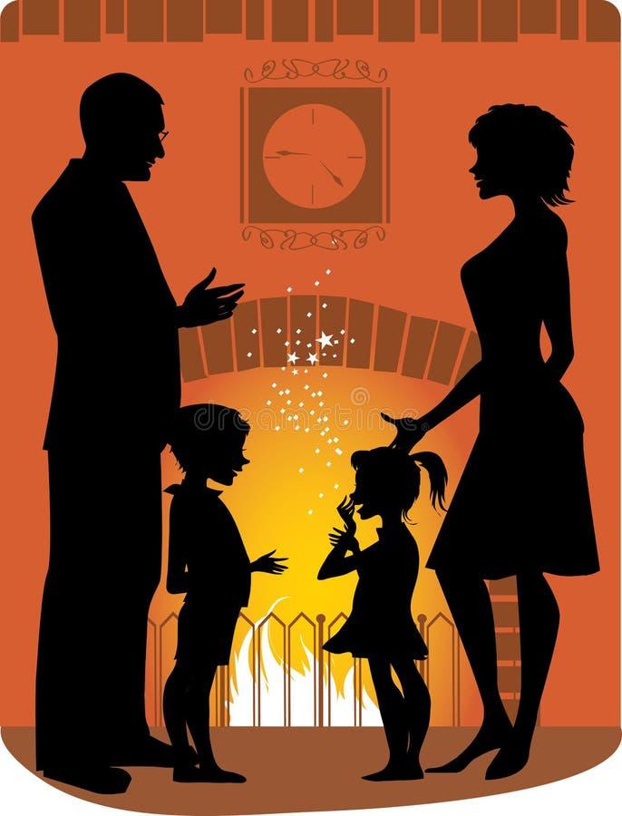 Familia por la chimenea ilustración del vector