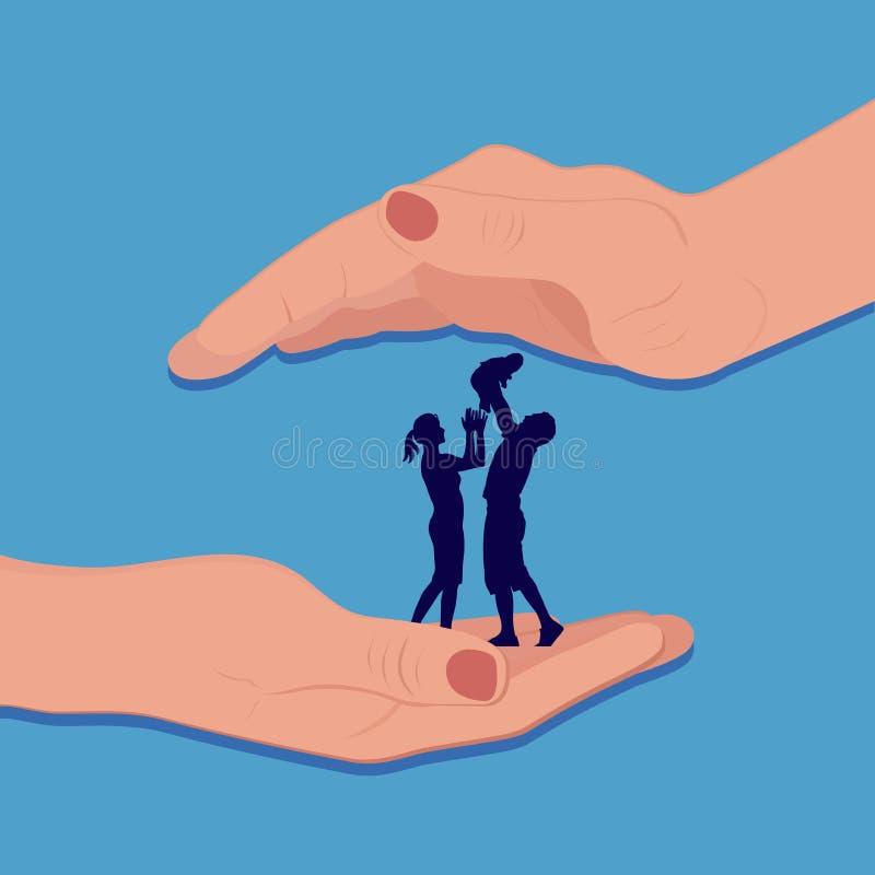 Familia protegida por las manos, ejemplo del vector ilustración del vector