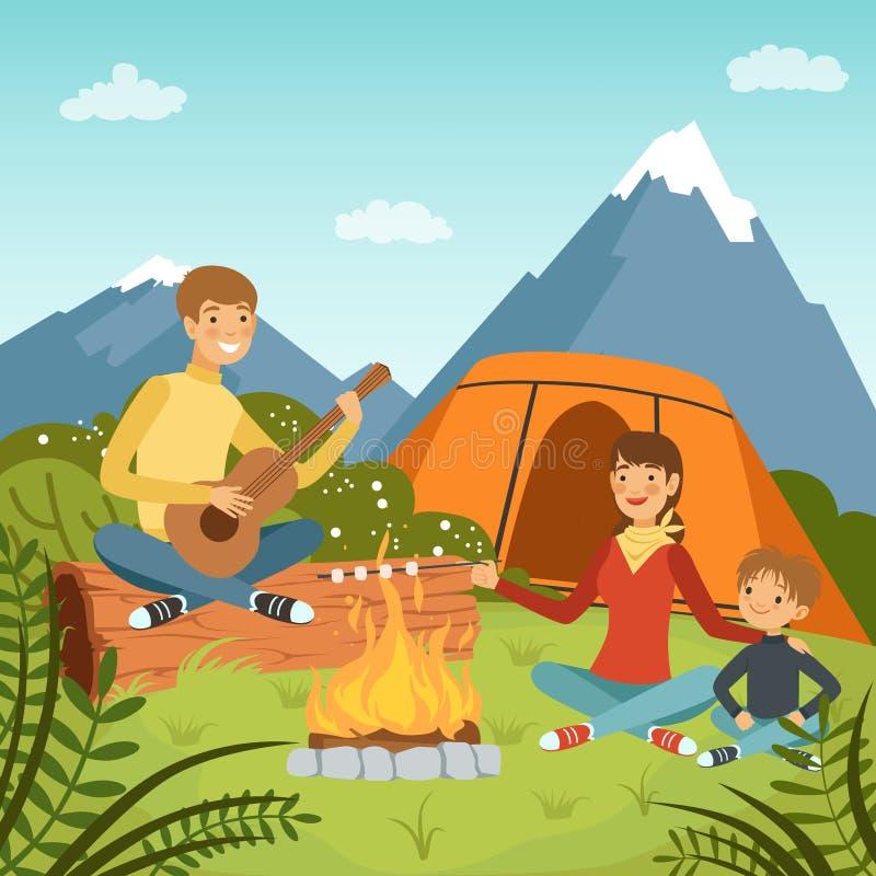 Familia que acampa en las montañas grandes cercanas de madera Ejemplos del fondo del vector de la naturaleza stock de ilustración