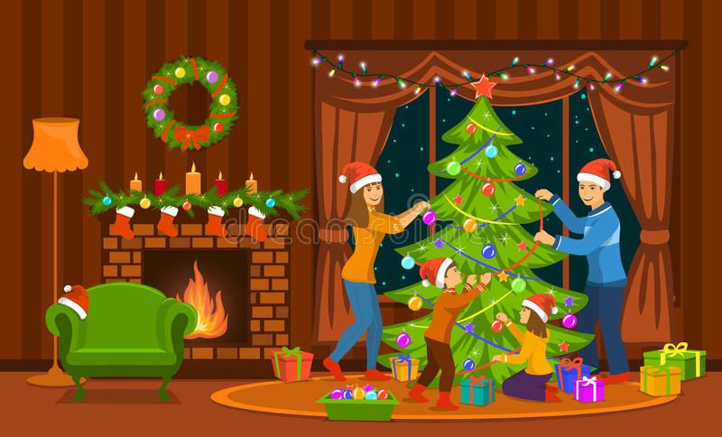 Familia que adorna el árbol de navidad en sala de estar en casa ilustración del vector