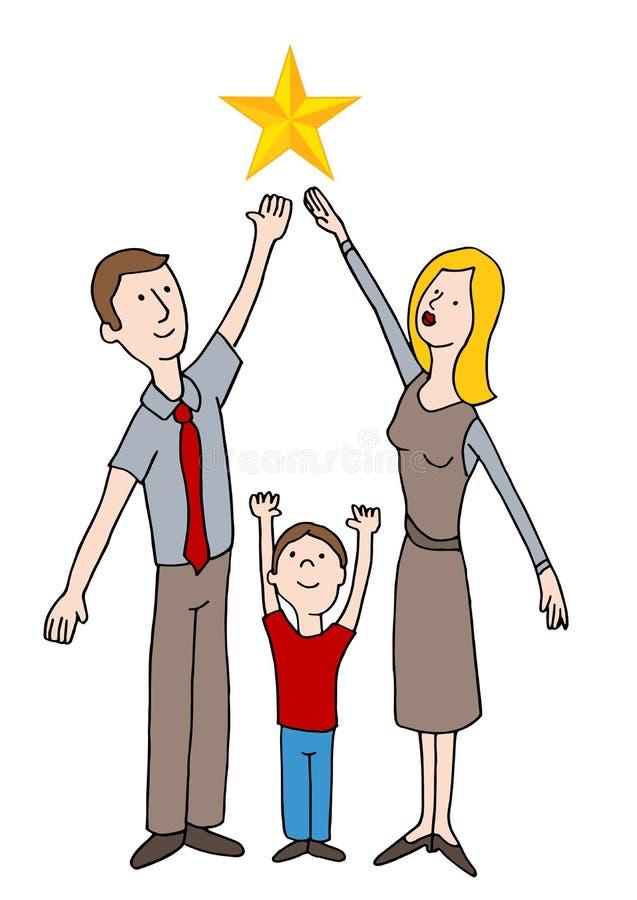 Familia que alcanza para las estrellas stock de ilustración