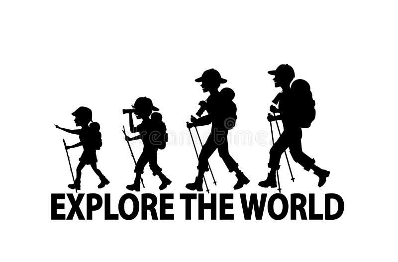 Familia que camina emigrar junto libre illustration