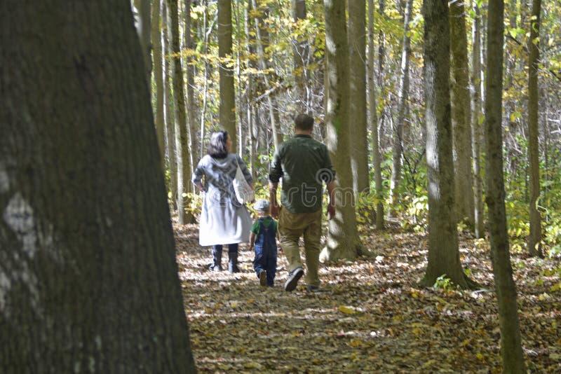 Familia que camina en pista de senderismo imagen de archivo libre de regalías