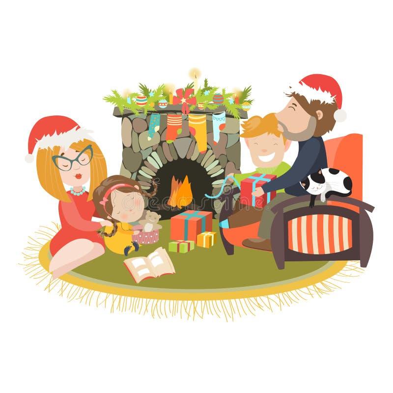 Familia que celebra la Navidad en la chimenea ilustración del vector