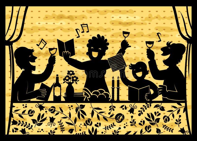 Familia que celebra pascua judía stock de ilustración