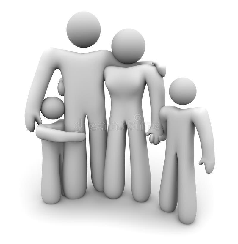Familia que coloca juntos - el papá, la mama y a 2 cabritos ilustración del vector