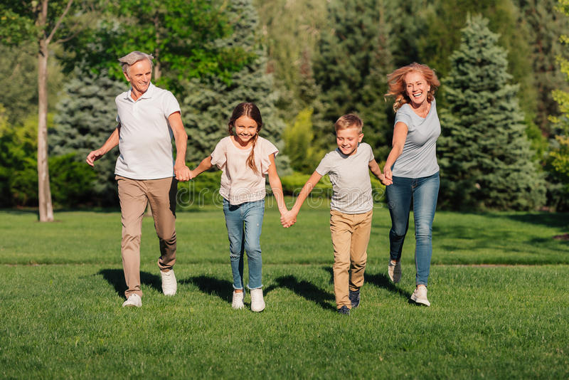 Familia que corre en prado fotografía de archivo libre de regalías