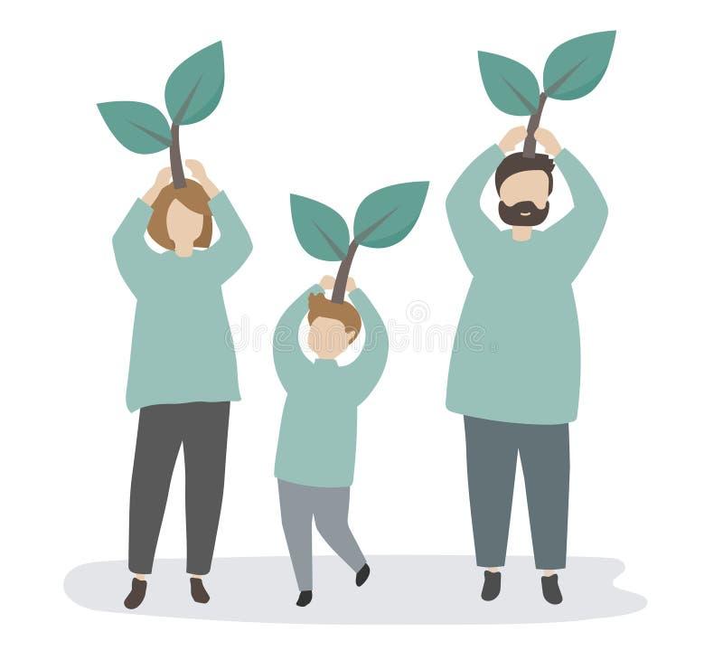Familia que cuida sobre el ambiente ilustración del vector