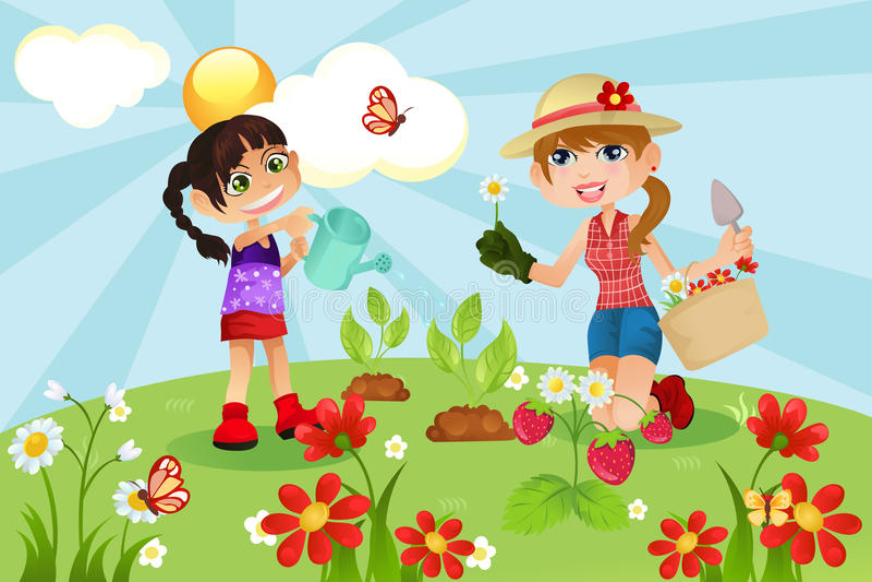 Familia que cultiva un huerto libre illustration