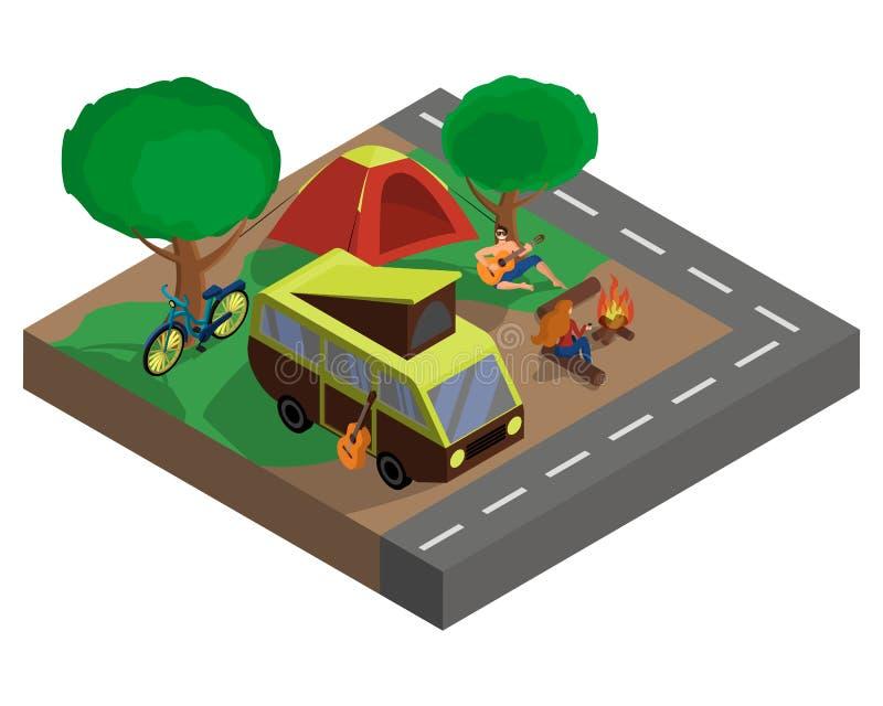 Familia que descansa en la naturaleza, turismo del eco, acampando Ejemplo isom?trico del vector 3d stock de ilustración