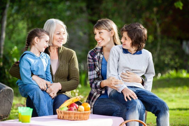 Familia que disfruta de comida campestre en parque fotos de archivo