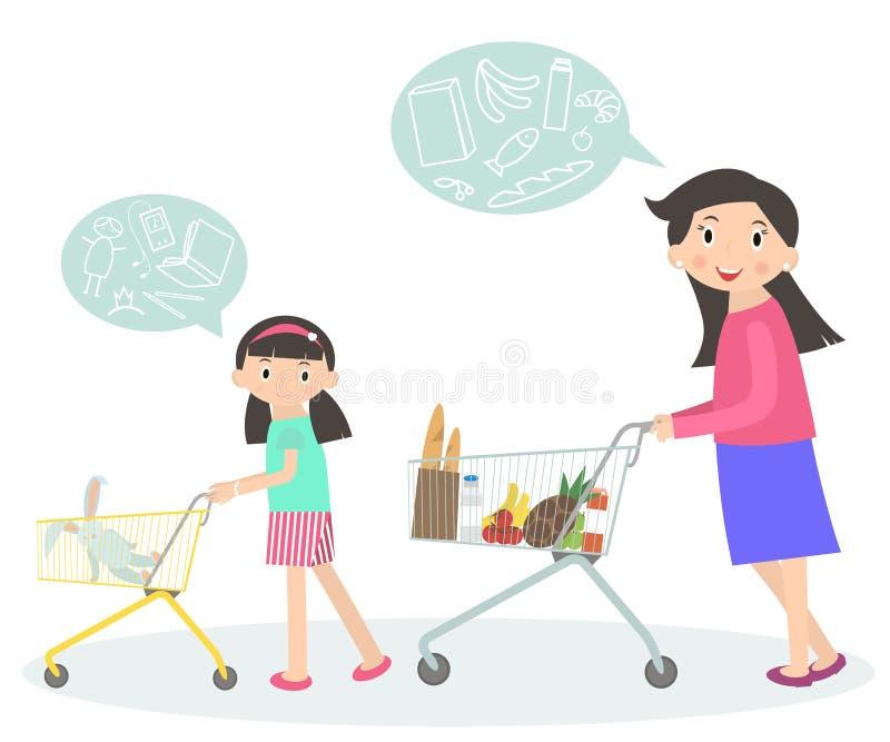 Familia que hace compras junto Mamá e hija con la carretilla del supermercado ilustración del vector
