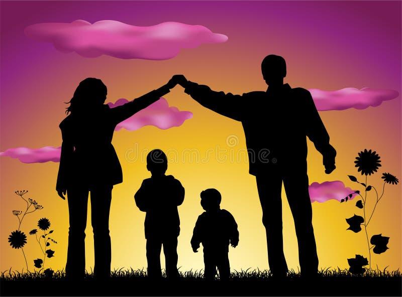 Familia que hace la silueta de la casa ilustración del vector