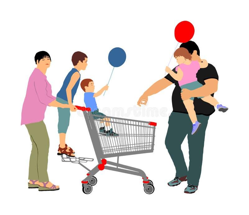 Familia que hace las compras diarias con la cesta de compras en el supermercado, vector aislado Hombre y mujer con los niños libre illustration