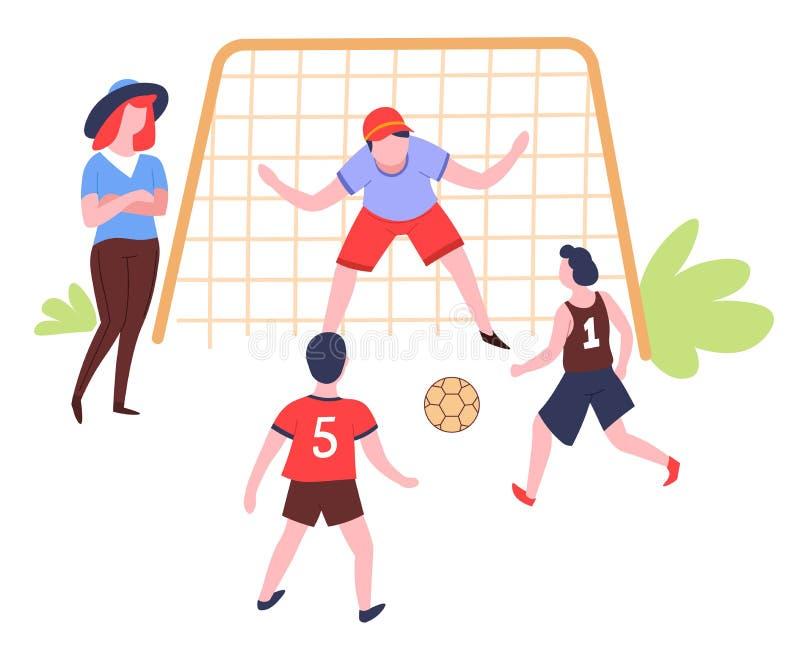 Familia que juega actividad al aire libre y deporte del verano del fútbol stock de ilustración