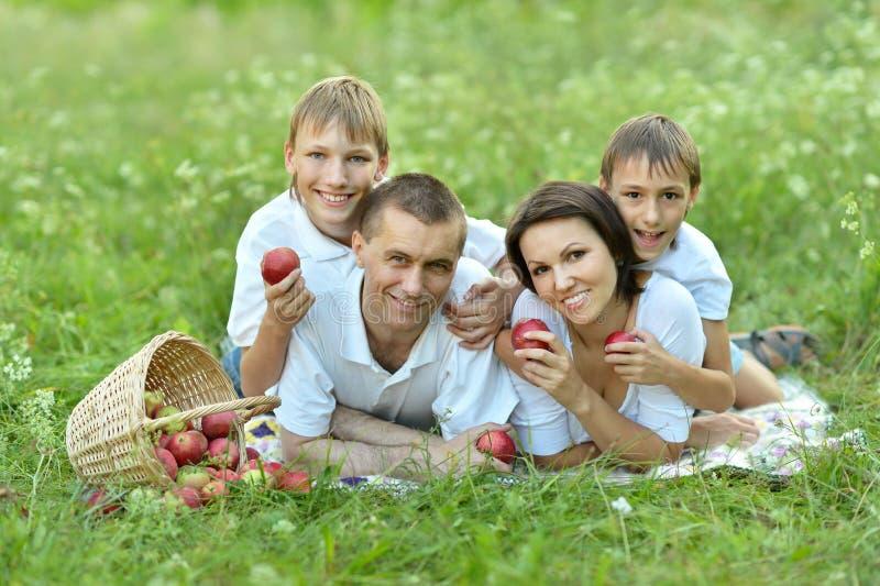 Familia que miente en hierba verde imagenes de archivo