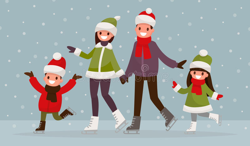 Familia que patina sobre hielo al aire libre Ejemplo del vector de un desi plano ilustración del vector