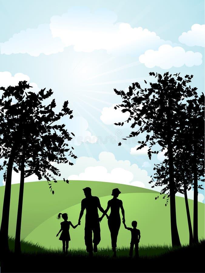 Familia que recorre afuera ilustración del vector