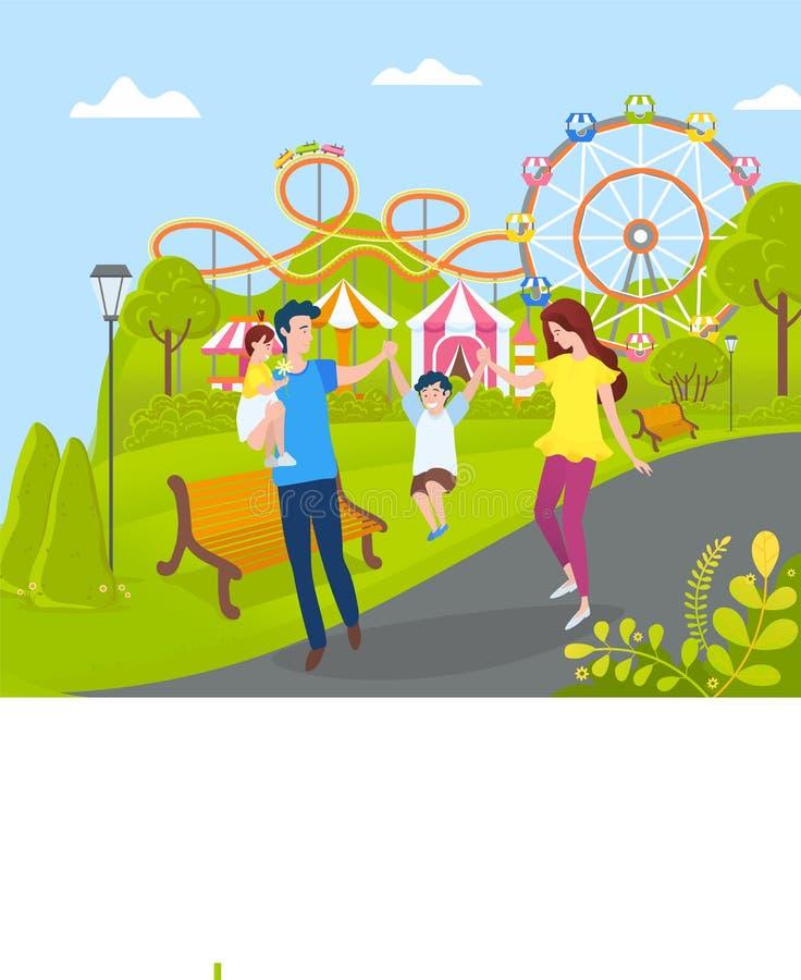 Familia que se relaja en el parque de atracciones, la madre y el papá stock de ilustración