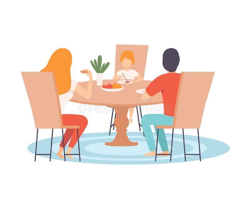 Familia que se sienta en la tabla de cocina y que come la cena junto, padres y a su hijo en vector de la vida cotidiana en casa ilustración del vector