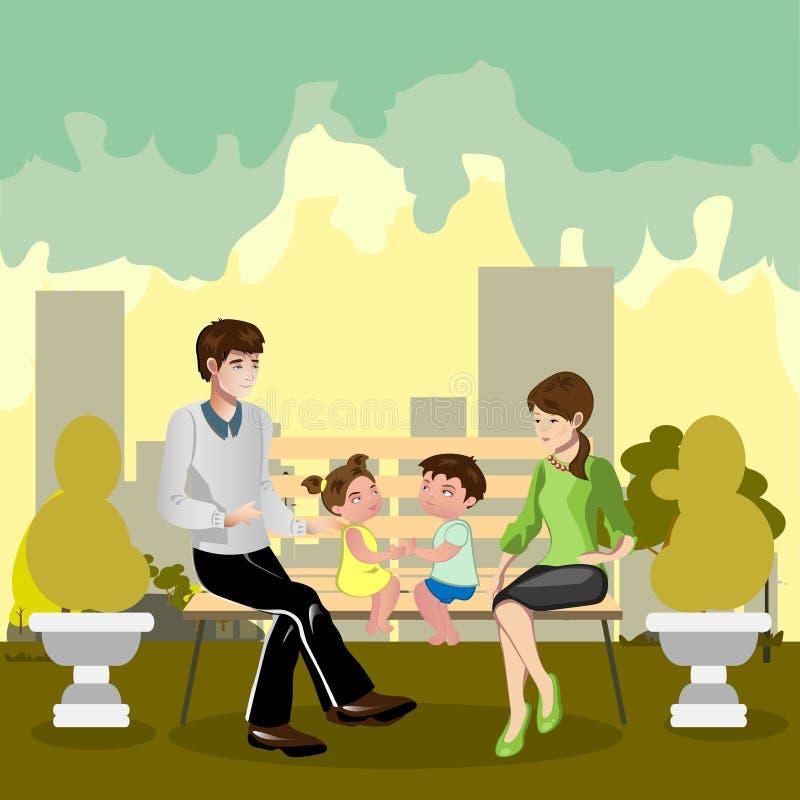 Familia que se sienta en un parque ilustración del vector