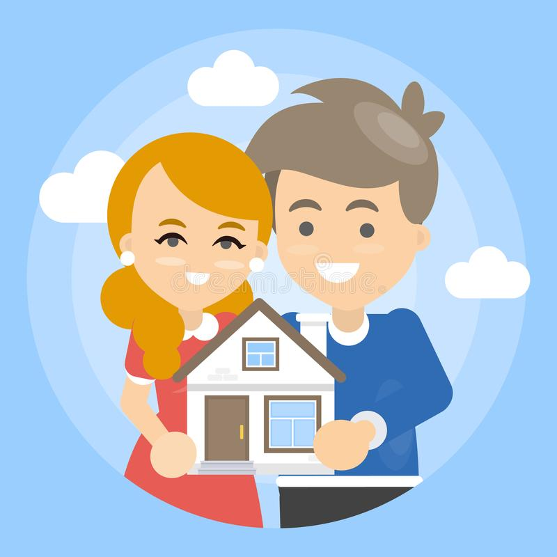 Familia que sostiene la casa libre illustration