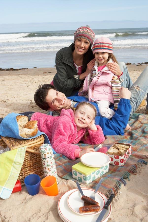 Familia que tiene comida campestre en la playa del invierno fotos de archivo libres de regalías