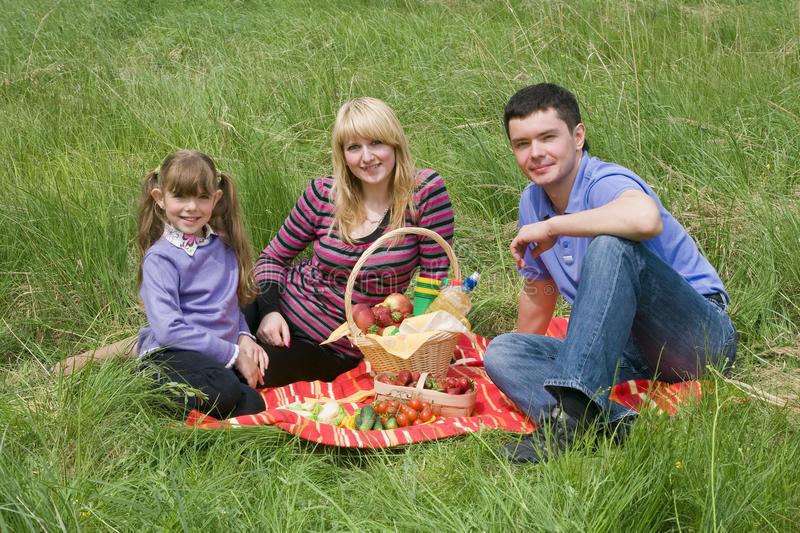 Familia que tiene comida campestre en parque imagen de archivo libre de regalías