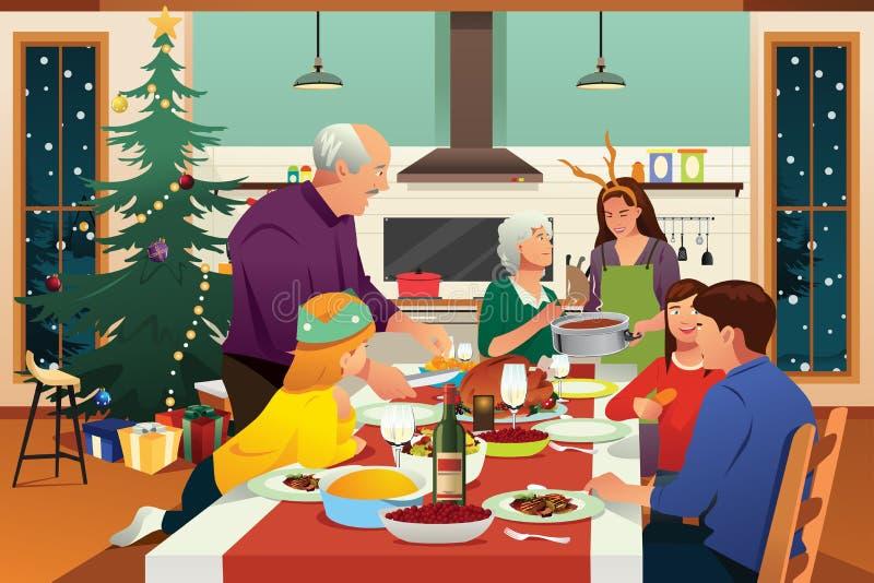 Familia que tiene ejemplo de la cena de la Navidad junto ilustración del vector