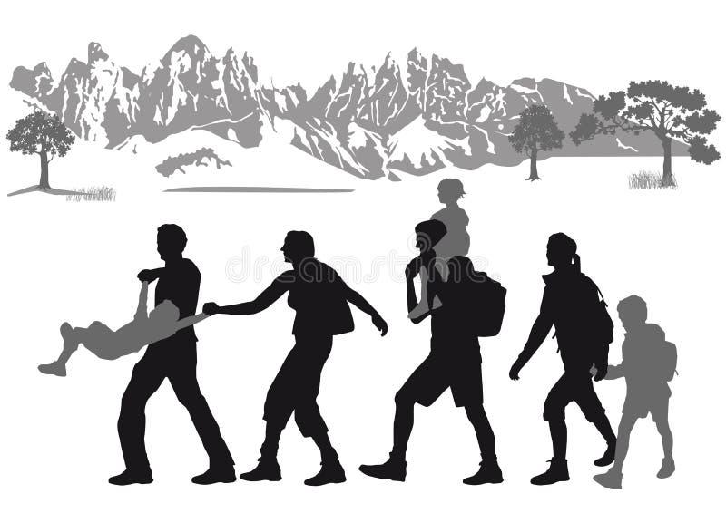 Familia que va de excursión en las montañas stock de ilustración