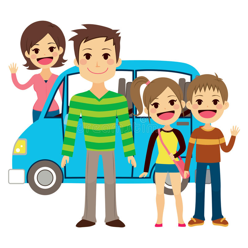 Familia que va en viaje de las vacaciones ilustración del vector
