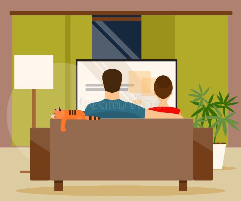 Familia que ve la TV Ilustración del vector stock de ilustración
