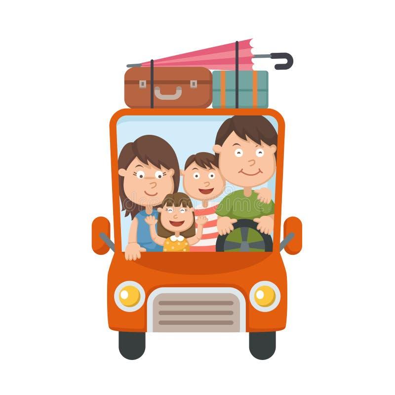 Familia que viaja en coche ilustración del vector
