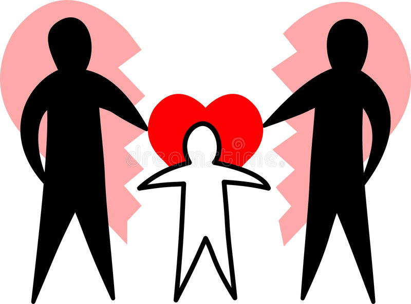 Familia quebrada/padres cariñosos/EPS ilustración del vector