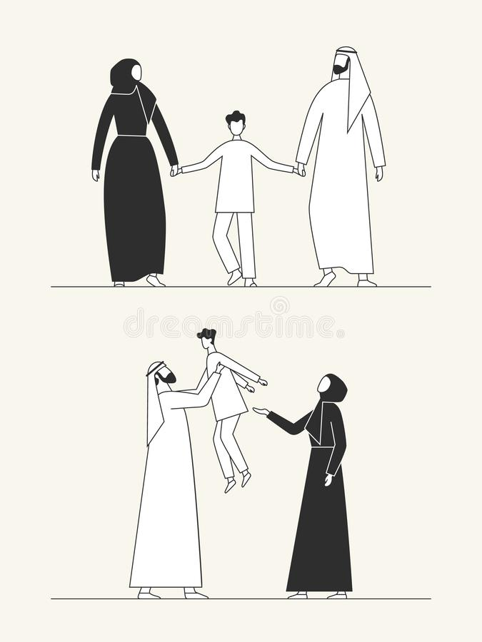 Familia ?rabe tradicional, cultura musulm?n hombre, mujer y ni?o Ejemplo plano ilustración del vector