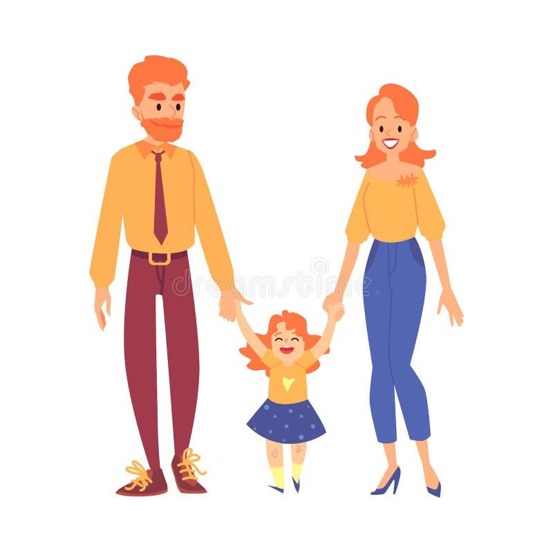 Familia redheaded feliz con sus soportes de la hija que llevan a cabo estilo de la historieta de las manos libre illustration