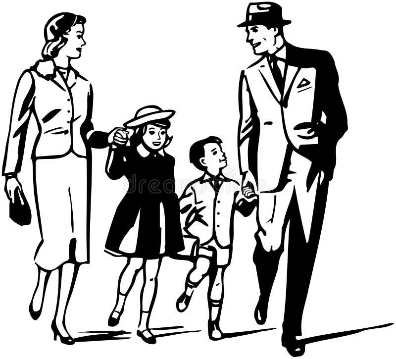 Familia retra stock de ilustración