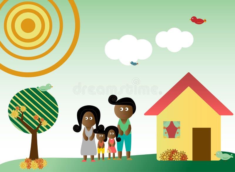 Familia retra del estilo en paisaje stock de ilustración