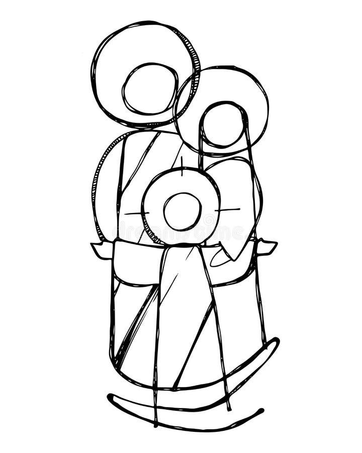 Familia sagrada de Jesús ilustración del vector