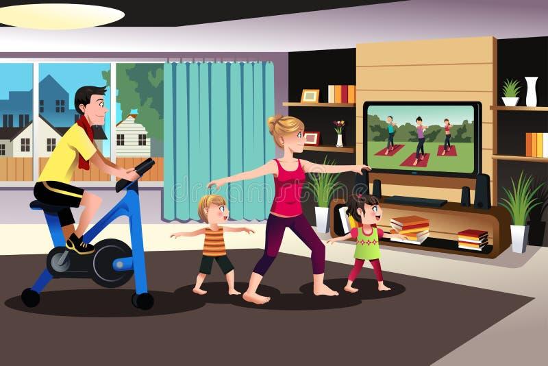 Familia sana que ejercita junto libre illustration