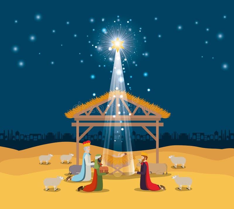 Familia santa en establo con el pesebre sabio de los reyes ilustración del vector