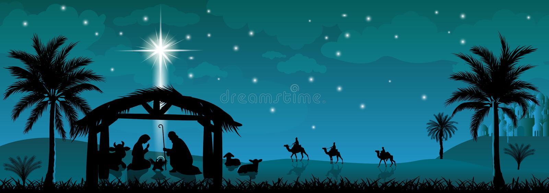 Familia santa, escena de la natividad Escena de la natividad de Jesus Christ imagen de archivo libre de regalías