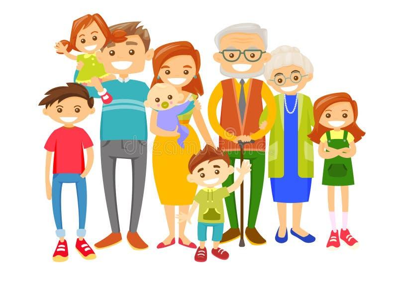 Familia sonriente caucásica extendida feliz stock de ilustración