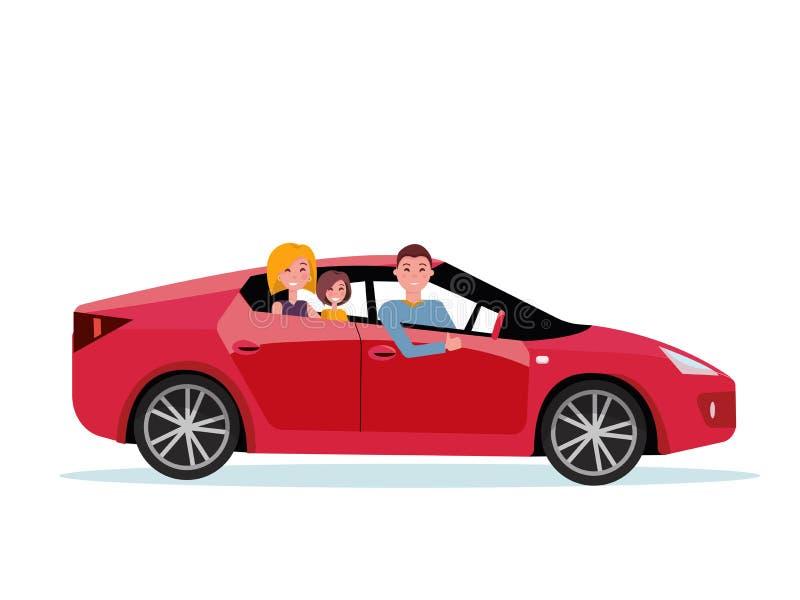 Familia sonriente dentro de su nuevo coche rojo conductor en la rueda del coche La mamá y la hija se están sentando en asiento tr ilustración del vector
