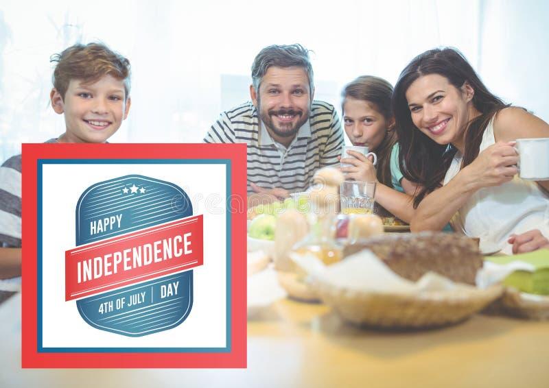 Familia sonriente que desayuna para el Día de la Independencia libre illustration