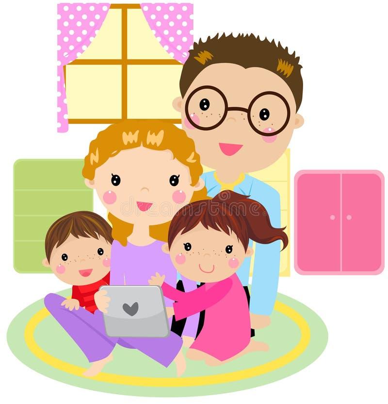 Familia usando un ordenador de la tablilla