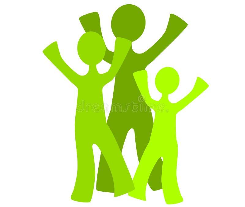 Familia verde cómoda de la tierra ilustración del vector